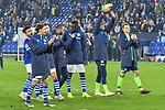 03.11.2018, Veltins-Arena, Gelsenkirchen, GER, 1. FBL, FC Schalke 04 vs. Hannover 96, DFL regulations prohibit any use of photographs as image sequences and/or quasi-video<br /> <br /> im Bild Schlussjubel / Schlußjubel / Emotion / Freude / der Mannschaft von Schalke vor Fankurve / Fans / Fanblock / <br /> <br /> Foto © nordphoto/Mauelshagen