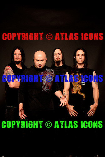 Disturbed : David Draiman, Dan Donegan, Mike Wengren, John Moyer,.Studio Session In Chicago, on 2009,.Photo Credit: Eddie Malluk/Atlasicons.com