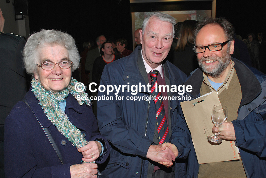Malachi O'Doherty, Belfast, N Ireland, journalist, author, broadcaster, left, with Rev Martin Smyth, former Grand Master of the Orange Order and his wife. 201201205723.<br />