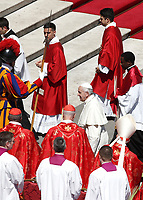 Pope Francis greets cardinals at the end of the Palm Sunday Mass in Saint Peter's Square at the Vatican, April 9, 2017. UPDATE IMAGES PRESS/Isabella Bonotto<br /> STRICTLY ONLY FOR EDITORIAL USE