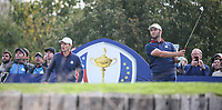 Jon Rahm (Team Europe) plays to the 8th during Friday's Fourballs, at the Ryder Cup, Le Golf National, Îls-de-France, France. 28/09/2018.<br /> Picture David Lloyd / Golffile.ie<br /> <br /> All photo usage must carry mandatory copyright credit (© Golffile | David Lloyd)