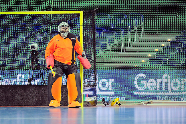 Leipzig, Germany, February 08: Roman Rogov #18 of Russia looks on during the placement match (5th / 6th) between Sweden (yellow) and Russia (red) on February 8, 2015 at the FIH Indoor Hockey World Cup at Arena Leipzig in Leipzig, Germany. Final score 1-3 (1-0). (Photo by Dirk Markgraf / www.265-images.com) *** Local caption ***