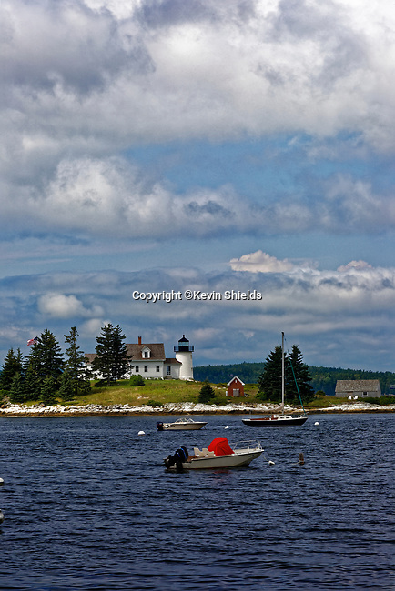View of Pumpkin Island Lighthouse, Little Deer Isle, Maine, USA