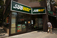 Toronto (ON) CANADA - July 2012 - A Subway Restaurant in downtown Toronto .