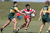 Cardiff Vaega fends off Jared Page as he heads across field. Counties Manukau Premier Counties Power Club Rugby game between Karaka and Pukekohe, played at the Karaka Sports Park on Saturday March 10th 2018. Pukekohe won the game 31 - 27 after trailing 5 - 20 at halftime.<br /> Photo by Richard Spranger.