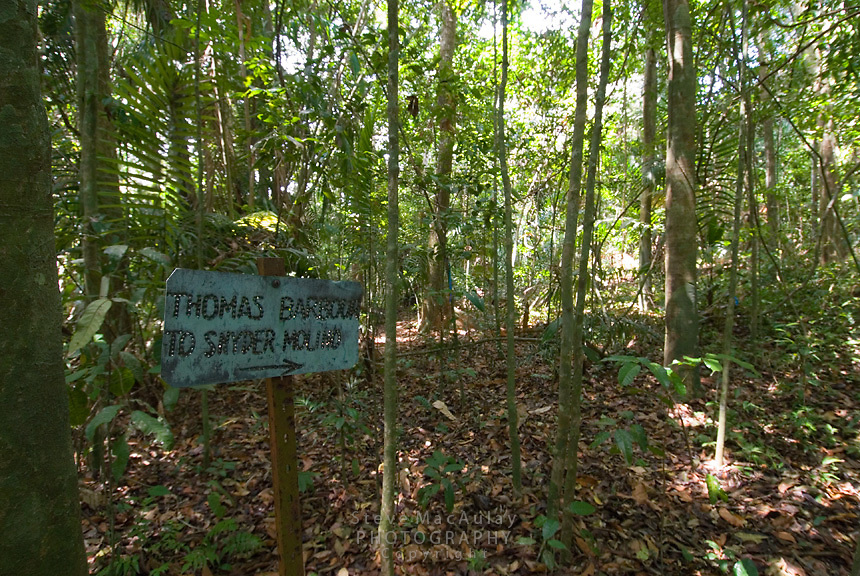 Original trail marker, Smithsonian Tropical Research Institute, STRI, Barro Colorado, Lago Gatun, Panama