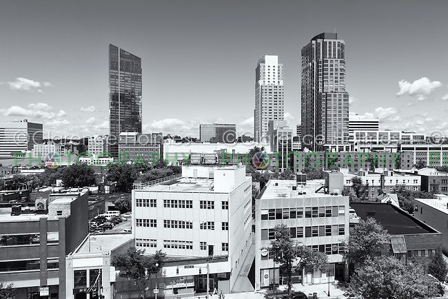 An elevated view of modern residential towers in the skyline of White Plains, New York.