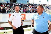 Cary, North Carolina  - Saturday June 03, 2017: Matt Briggs and David Gough prior to a regular season National Women's Soccer League (NWSL) match between the North Carolina Courage and the FC Kansas City at Sahlen's Stadium at WakeMed Soccer Park. The Courage won the game 2-0.
