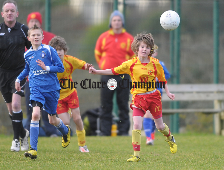 Jack Joyce of Avenue united in action against XXX of Limerick FC during their U-12 game at Lisdoonvarna. Photograph by John Kelly.
