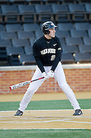 Matt Conway (25) of the Wake Forest Demon Deacons at bat against the Georgetown Hoyas at Wake Forest Baseball Park on February 16, 2014 in Winston-Salem, North Carolina.  The Demon Deacons defeated the Hoyas 3-2.  (Brian Westerholt/Four Seam Images)