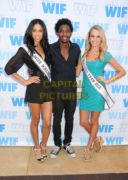 Brittany McGowan, Miss Malibu USA 2013, Aaron Smith, Shwayze, Chloe Hope Hatfield, Miss Malibu Teen USA 2013<br /> 16th Annual Women In Film Malibu Golf Classic held at the Malibu Golf Club, Malibu, California, USA, 13th July 2013.<br /> full length hand on hip dress shorts  green black shirt smiling beard facial hair <br /> CAP/ADM/BP<br /> &copy;Byron Purvis/AdMedia/Capital Pictures