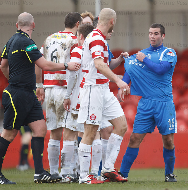 Tempers flare after Simon Mensing's red card as Peter MacDonald has his say