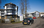 Modern business park traffic and buildings, Claydon, Suffolk, England