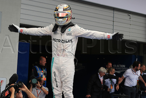 03.07.2016. Red Bull Circuit, Spielberg, Austria. F1 Grand pix of Austria. Race Day.  Lewis Hamilton leaps from his car in parc ferme as he wins at the Red Bull Ring