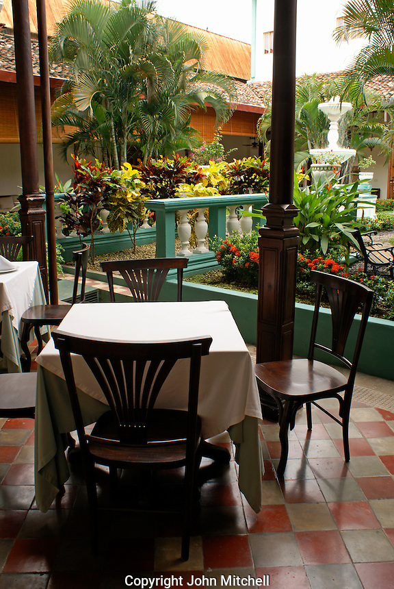 Interior courtyard and restaurant of the Hotel Dario in the Spanish colonial city of Granada, Nicaragua