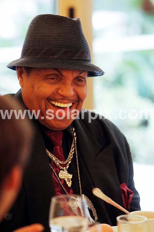 "**ALL ROUND EXCLUSIVE PICTURES FROM SOLARPIX.COM**                                             **WORLDWIDE SYNDICATION RIGHTS EXCEPT SPAIN AND PORTUGAL -  NO SYNDICATION IN SPAIN **                                                                                  Caption: Michael Jackson father Joseph having breakfast with and the Honorary Chairman of the Jackson Family Foundation  whilst attending the presentation of an agreement signed between the Jackson Family Foundation and the musical ""Forever King of Pop"" of the Summum Music producer Carlos J Lee at the Hotel Continental in Madrid Spain..this is Joseph's first time ever in Spain                                                                      This pic:  Joseph Jackson                                                                                            JOB REF:12988        DMS/Drake       DATE: 18.03.2011                                                           **MUST CREDIT SOLARPIX.COM OR DOUBLE FEE WILL BE CHARGED**                                                                      **MUST AGREE FEE BEFORE ONLINE USAGE**                               **CALL US ON: +34 952 811 768 or LOW RATE FROM UK 0844 617 7637**"