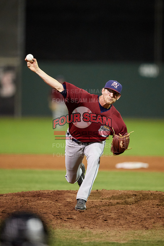 Mahoning Valley Scrappers relief pitcher Riley Echols (35) delivers a pitch during a game against the Batavia Muckdogs on August 29, 2017 at Dwyer Stadium in Batavia, New York.  Batavia defeated Mahoning Valley 2-0.  (Mike Janes/Four Seam Images)
