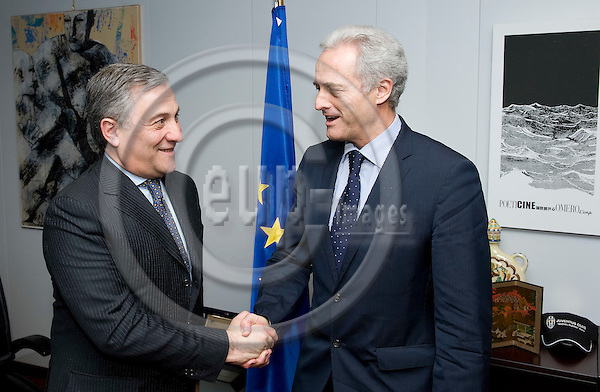 Brussels-Belgium - December 16, 2009 -- Antonio TAJANI (le), Vice-President of the European Commission and in charge of Transport, receives Dr. Peter RAMSAUER (ri), Federal Minister for Transport, Building and Urban Development of Germany -- Photo: Horst Wagner / eup-images