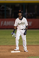 Visalia Rawhide second baseman Raymel Flores (1) stands on second base after hitting a ninth-inning double during a California League game against the Stockton Ports at Visalia Recreation Ballpark on May 8, 2018 in Visalia, California. Stockton defeated Visalia 6-2. (Zachary Lucy/Four Seam Images)