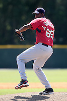 Boston Red Sox minor league player Juan Rodriguez #69 during a spring training game vs the Baltimore Orioles at the Buck O'Neil Complex in Sarasota, Florida;  March 22, 2011.  Photo By Mike Janes/Four Seam Images