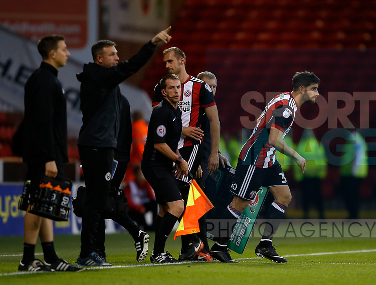 Ched Evans of Sheffield Utd replaces injured James Hanson of Sheffield Utd during the Carabao Cup First Round match at Bramall Lane Stadium, Sheffield. Picture date: August 9th 2017. Pic credit should read: Simon Bellis/Sportimage