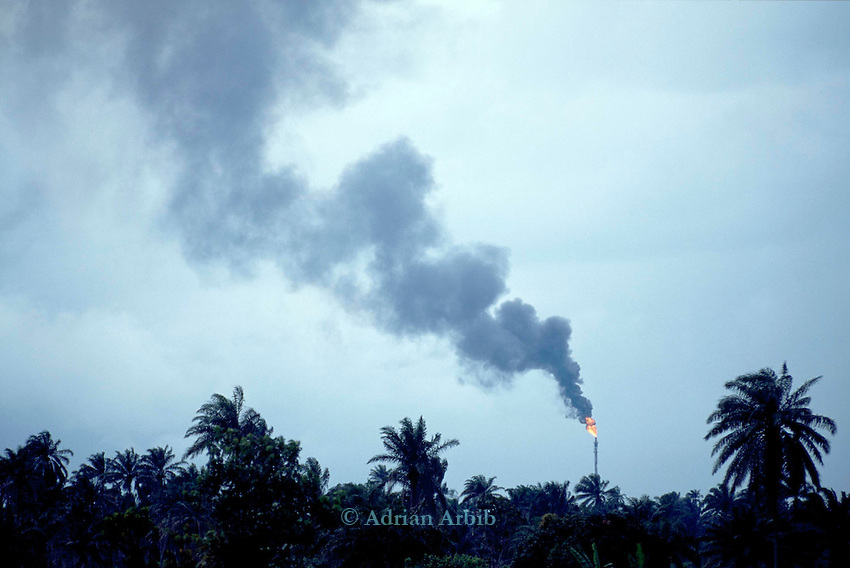 Shell Oil flares burning of  petroleum  gas in the Delta region of Nigeria. Ogoni Land.  Local residents complain of being unable to  sleep at night due to the brightness of the flares.