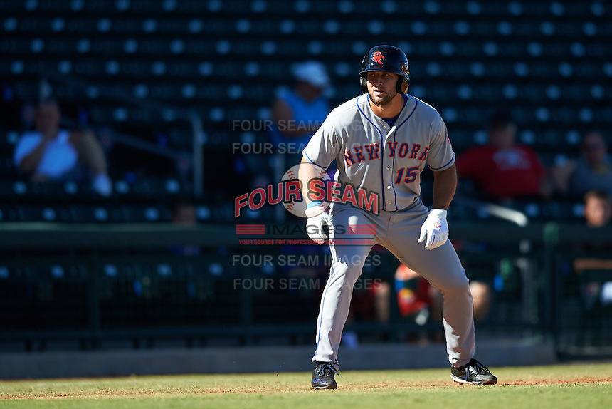 Scottsdale Scorpions designated hitter Tim Tebow (15), of the New York Mets organization, leads off third in the fourth inning during a game against the Mesa Solar Sox on October 18, 2016 at Sloan Park in Mesa, Arizona.  Mesa defeated Scottsdale 6-3.  (Mike Janes/Four Seam Images)