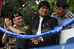 &copy;PATRICIO CROOKER<br /> Cochabamba, Bolivia<br /> A picture dated December 19, 2012 shows Bolivian President Evo Morales attending a military ceremony in the coca growing region of Chapare.