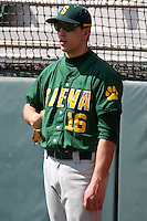 February 21, 2010:  Pitcher Nicco Stento (16) of the Siena Saints during a game at Melching Field at Conrad Park in DeLand, FL.  Siena lost to Stetson by the score of 8-7.  Photo By Mike Janes/Four Seam Images