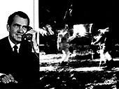 "Washington, DC - (FILE) -- Composite photo of President Richard M. Nixon as he telephoned ""Tranquility Base"" and astronauts Neil Armstrong and Edwin ""Buzz"" Aldrin on Sunday, July 20, 1969. The President: ""... For one priceless moment in the history of man, all of the people on this Earth are truly one, one in their pride in what you have done and one in our prayers that you will return safely to Earth."" Astronaut Armstrong: ""...Thank You, Mr. President. It is a great honor and privilege for us to be here representing not only the United States, but men of peaceable nations, men with an intrest and curiosity, and men with a vision for the future. It is an honor for us to be able to participate here today."".Credit: NASA via CNP"