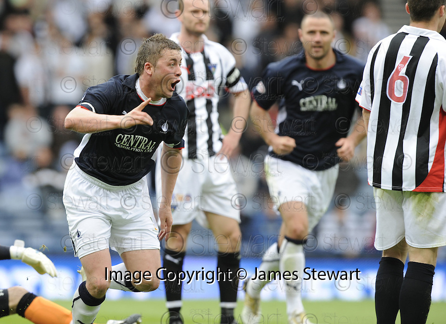 26/04/2009  Copyright Pic: James Stewart.sct_jspa11_falkirk_v_dunfermline.THOMAS SCOBBIE CELEBRATES AFTER HE SCORES FALKIRK'S FIRST.James Stewart Photography 19 Carronlea Drive, Falkirk. FK2 8DN      Vat Reg No. 607 6932 25.Telephone      : +44 (0)1324 570291 .Mobile              : +44 (0)7721 416997.E-mail  :  jim@jspa.co.uk.If you require further information then contact Jim Stewart on any of the numbers above.........