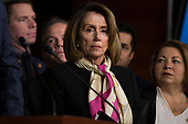 United States House Minority Leader Nancy Pelosi (Democrat of California) looks on as US Representative Joe Crowley (Democrat of New York) speaks with reporters during a press conference held by US House Democrats at the US Capitol on the first morning of a government shutdown as congress looks to end the political deadlock and fund the government on January 20th, 2018 in Washington, D.C. <br /> Credit: Alex Edelman / CNP