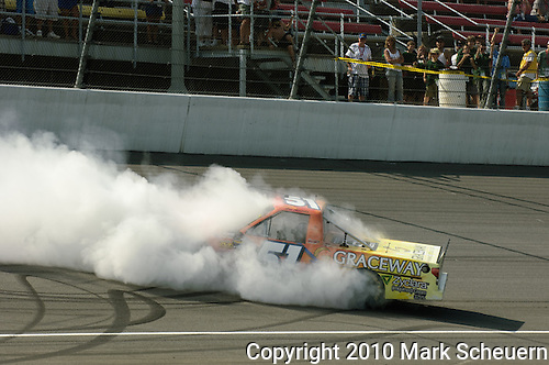 June 12 2010:  Aric Almirola does a celebratory burnout after winning the NASCAR Camping World Truck Series VFW 200 race at Michigan International Speedway, Brooklyn, Michigan