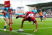 Louis Rees-Sammit of Gloucester Rugby looks to score a try but it is later ruled out for a foot in touch. Premiership Rugby 7s (Day 2) on July 28, 2018 at Franklin's Gardens in Northampton, England. Photo by: Patrick Khachfe / Onside Images