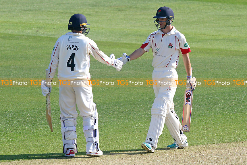 Dane Vilas (R) of Lancashire celebrates scoring a half-century, 50 runs during Essex CCC vs Lancashire CCC, Specsavers County Championship Division 1 Cricket at The Cloudfm County Ground on 7th April 2017