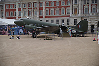 KG374  Douglas Dakota IV<br /> RAF100 Aircraft Tour: aircraft of the UK RAF / Royal Air Force on display on Horse Guards Parade in front of the Admiralty House, London, England on July 06, 2018.<br /> Actually KP208 in markings of Flt Lt Lord VC&rsquo;s KG374 <br /> Aircraft represented was hit by flak on a supply drop in Arnhem. Lord ordered crew to bale out but continued mission until aircraft crashed on 19 September 1944.<br /> CAP/SDL<br /> &copy;Stephen Loftus/Capital Pictures