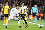 Borussia Dortmund Mahmoud Dahoud (R) fights for the ball with Nacho Fernandez of Real Madrid (L) during the Europe Champions League 2017-18 match between Real Madrid and Borussia Dortmund at Santiago Bernabeu Stadium on 06 December 2017 in Madrid Spain. Photo by Diego Gonzalez / Power Sport Images