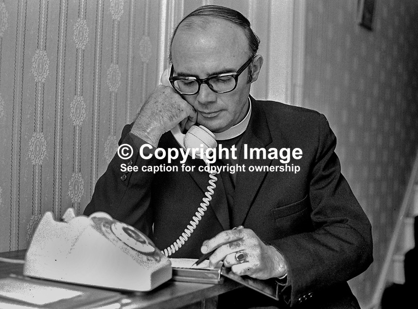 Canon William Arlow, Church of Ireland clergman, who, along with other Protestant churchmen, met 6 members of the Provisional IRA army council in Feakle, Co Clare, in an attempt to secure a permanent ceasefire. Arlow is picture at his Belfast home in May 1975. 197505260523WA3..Copyright Image from Victor Patterson, 54 Dorchester Park, Belfast, UK, BT9 6RJ..Tel: +44 28 9066 1296.Mob: +44 7802 353836.Voicemail +44 20 8816 7153.Skype: victorpattersonbelfast.Email: victorpatterson@mac.com.Email: victorpatterson@ireland.com (back-up)..IMPORTANT: If you wish to use this image or any other of my images please go to www.victorpatterson.com and click on the Terms & Conditions. Then contact me by email or phone with the reference number(s) of the image(s) concerned.
