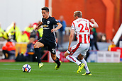 9th September 2017, bet365 Stadium, Stoke-on-Trent, England; EPL Premier League football, Stoke City versus Manchester United; Ander Herrera of Manchester United is watched by former united player Darren Fletcher of Stoke City