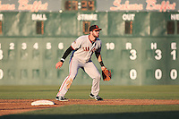 T.J. Bennett (12) of the San Jose Giants in the field during a game against the Lancaster JetHawks during the second game of a doubleheader at The Hanger on July 14, 2016 in Lancaster, California. Lancaster defeated San Jose, 3-0. (Larry Goren/Four Seam Images)