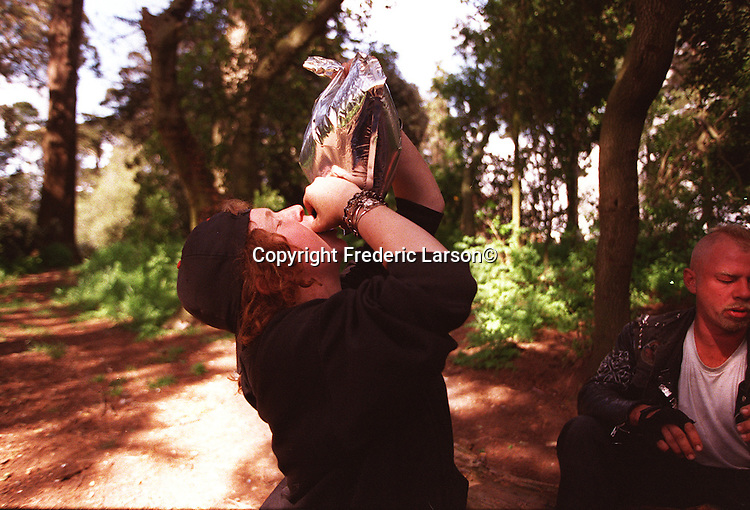 "Holding a 5 liter bag of cheap wine over her head, Shera downs many swills (drinks) at Punker Hill"" in Golden Gate Park before returning to Haight Street drunk."