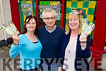 Catherine Lyons, Killarney (on behalf of her brother Tim O'Sullivan, Pinewood Estate) and Siobhan Twomey, Ballymac, receive their All-Ireland tickets from Kerry's Eye editor Colin Lacey.