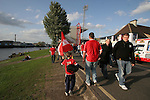 Nottingham Forest 2 Yeovil Town 5, 18/05/2007. City Ground, League One Play Off Semi Final 2nd Leg. Fans gather outside Nottingham Forest's City Ground on the banks of the river Trent pictured before the club's League One play-off semi-final match against Yeovil Town. Forest had won the first leg by 2 goals to nil at Yeovil the previous week but were defeated by 5 goals to 2 after extra time and missed out on the play-off final at Wembley. Yeovil went on to play Blackpool in the final for the one remaining promotion place to the Championship. Photo by Colin McPherson.