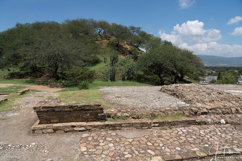 The former palace and Mound F behind at the ruins of the Zapotec city of Zaachila in the Central Valley of Oaxaca, Mexico.