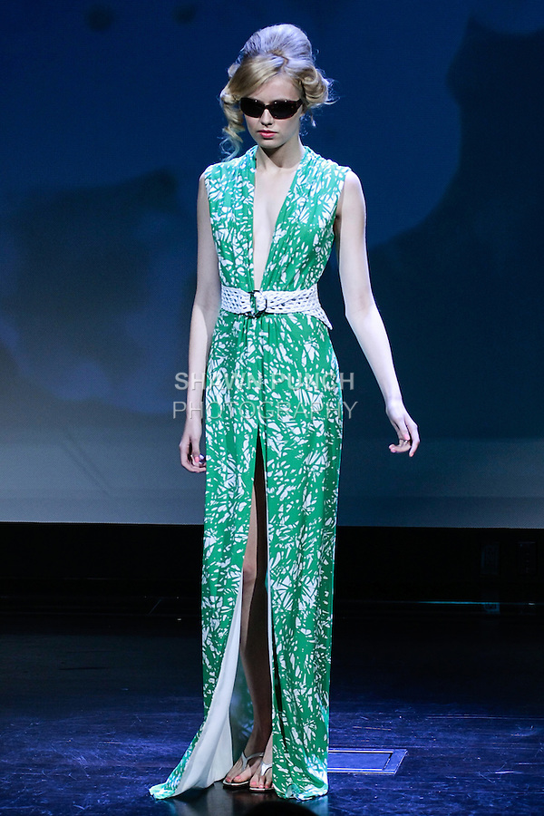 """Megan poses in an outfit from the Douglas Hannant Spring 2013 """"A Daydream"""" collection, at the New York Historical Society, during New York Fashion Week Spring 2013."""