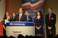 October 7, 2011  (Washington, DC)   Former U.S. Senator Rick Santorum, pictured with his family, spoke before an audience at the Values Voter Summit in Washington.  Santorum was one of several 2012 Presidential candidates to attend the Summit, which was organized by FRC Action, the non-profit legislative action arm of Family Research Council.   (Photo by Don Baxter/Media Images International)