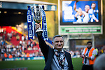 Home manager Tony Mowbray shows off the promotion trophy as Blackburn Rovers took on Oxford United in a Sky Bet EFL League One fixture at Ewood Park, Blackburn. The home side had already achieved promotion back to the Championship after one season down in League One. The match ended in a 2-1 victory for the home side, watched by 27,600 spectators which confirmed Blackburn as runners-up in League One.