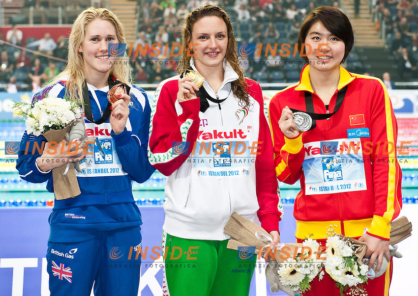 Hosszu Katinka HUN  CR   Gold Medal   .Jiao Liuyang CHN  Silver Medal.Lowe Jemma GBR  Bronze Medal.Women's 200m Butterfly Final.FINA World Short Course Swimming Championships.Istanbul Turkey 12 - 16 Dec. 2012.Day 01.Photo G.Scala/Deepbluemedia/Inside