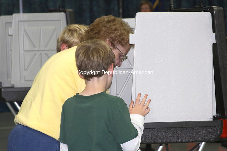BARKHAMSTED, CT-NOVEMBER 04 2014-110414KB02-Barkhamsted's Kathie Tong votes as her grandsons, Conner Farr (left) and Dylan Farr, look on. Kathryn Boughton/Republican-American