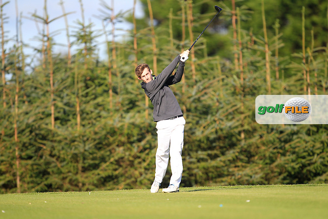 Patrick Brennan (Belvoir Park) on the 8th tee during Round 1of the AIG Irish Amateur Close Championship at Tramore Golf Club on Tuesday 18th August 2015.<br /> Picture:  Thos Caffrey / www.golffile.ie